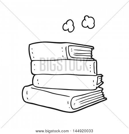 freehand drawn black and white cartoon stack of books