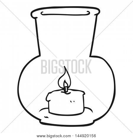 freehand drawn black and white cartoon old glass lantern with candle