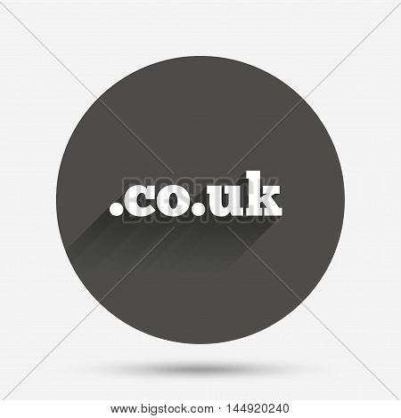 Domain CO.UK sign icon. UK internet subdomain symbol. Circle flat button with shadow. Vector