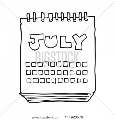 freehand drawn black and white cartoon calendar showing month of July