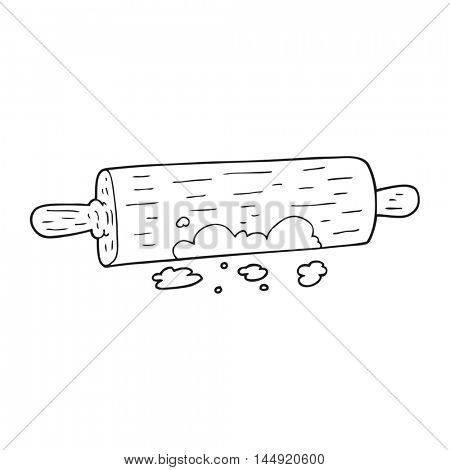 freehand drawn black and white cartoon rolling pin