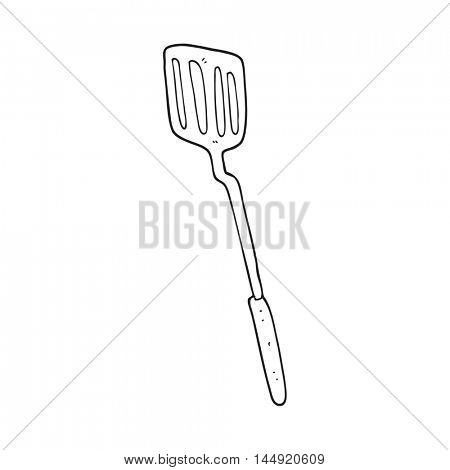 freehand drawn black and white cartoon spatula