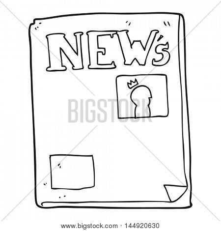 freehand drawn black and white cartoon newspaper
