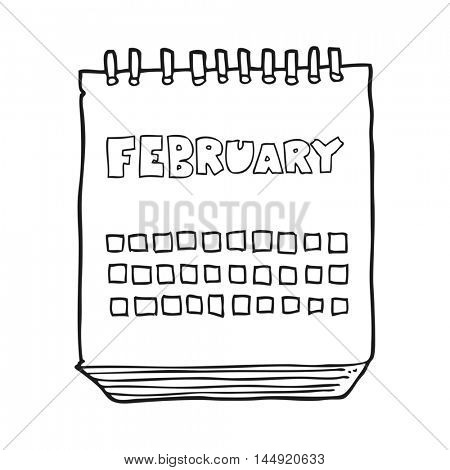 freehand drawn black and white cartoon calendar showing month of february