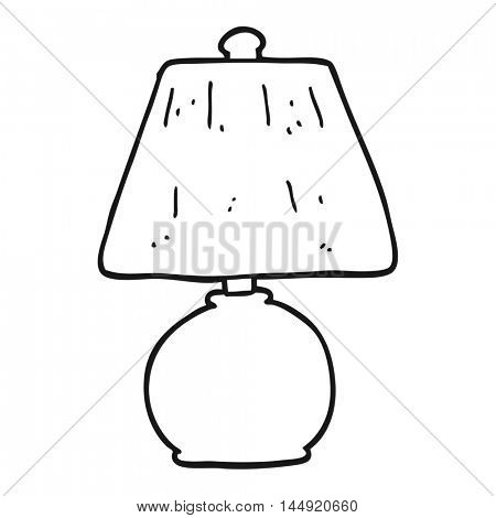 freehand drawn black and white cartoon lamp