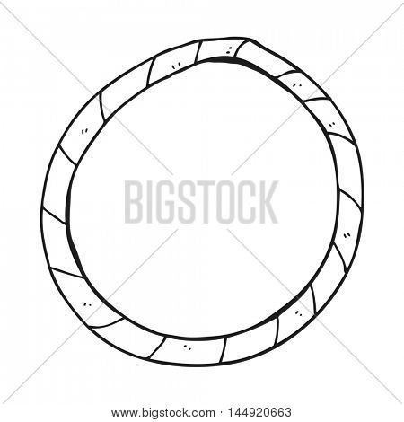 freehand drawn black and white cartoon hula hoop