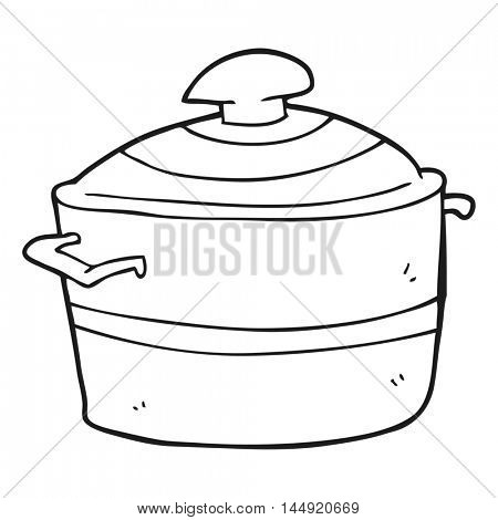 freehand drawn black and white cartoon cooking pot