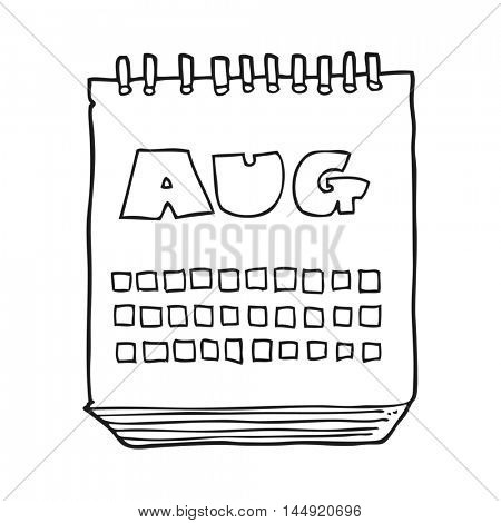 freehand drawn black and white cartoon calendar showing month of august