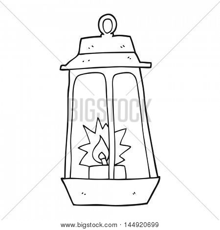 freehand drawn black and white cartoon lantern