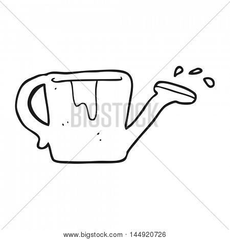 freehand drawn black and white cartoon watering can