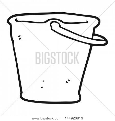 freehand drawn black and white cartoon bucket