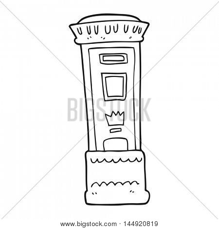 freehand drawn black and white cartoon british post box