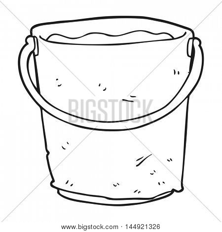 freehand drawn black and white cartoon bucket of water