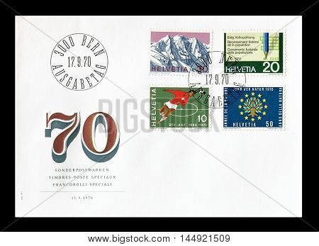 SWITZERLAND - CIRCA 1970 : Cancelled First Day Cover letter printed by Switzerland, that  shows current events.