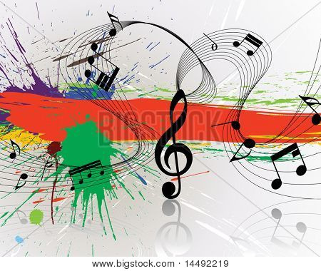 Musical notes staff on grunge background for design use poster