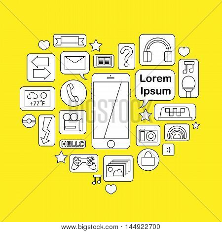 Hand-drawn smartphone icon with communication application: call email photo camera instant message music game playing. Connection gadget with functions concept vector illustration with text place