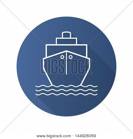 Cruise ship flat linear long shadow icon. Transportation vessel. Cargo shipping tanker. Vector line symbol