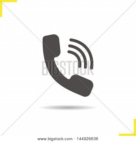 Phone call icon. Drop shadow hotline silhouette symbol. Phone handset ringing. Vector isolated illustration