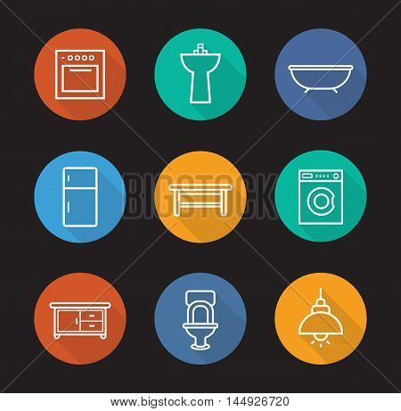 Kitchen and bathroom flat linear long shadow icons set. Electric stove, washstand, bath, fridge, classic wooden table, washing machine, kitchen counter, toilet, ceiling lamp. Vector line symbols