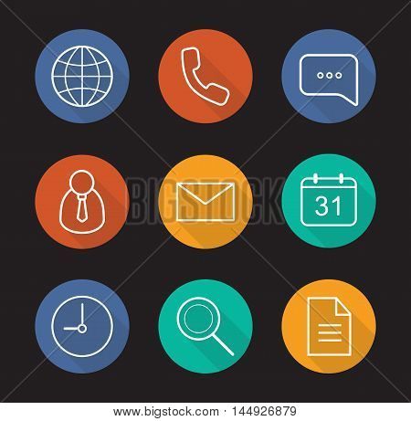 Digital flat linear long shadow icons set. Worldwide globe sign, handset, chat bubble, admin user, sms, calendar, time, search and document symbols. Office items. Vector line symbols