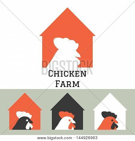 Chicken farm house logo concept with hen head silhouette. Poultry household production.