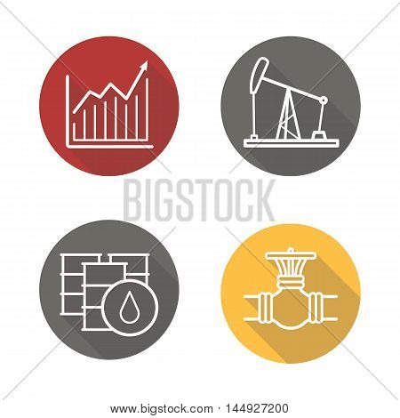 Oil industry flat linear long shadow icons set. Price growth diagram, oil rig and barrels, gas pipe valve. Vector line symbols