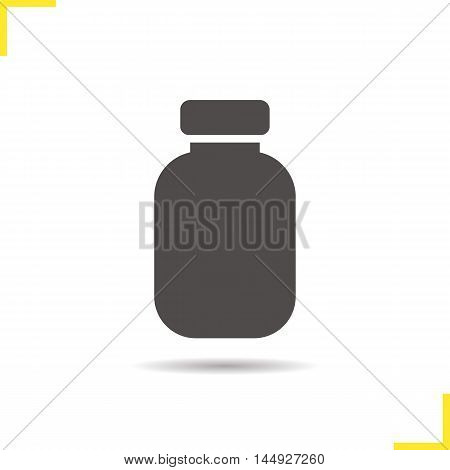 Pills bottle icon. Drop shadow silhouette symbol. Medicine plastic bottle wit cap. Blank template. Vector isolated illustration