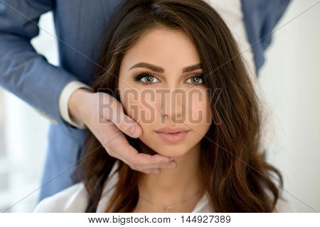 Beautiful Lady In Shirt With Handsome Guy In Suit. Young Couple Is Hugging Each Other. Portrait Of G