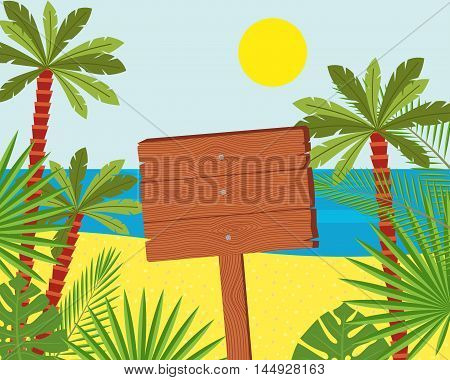 Wooden signs on a beautiful tropical beach. Illustration of a signboard in the seashore
