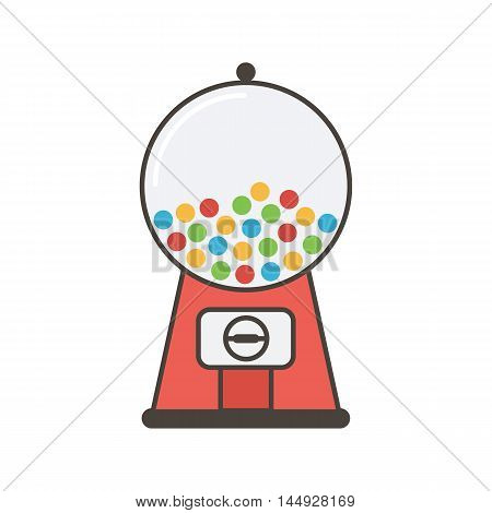 Outlined red vending machine with gumballs, candies, sweets isolated on white background.