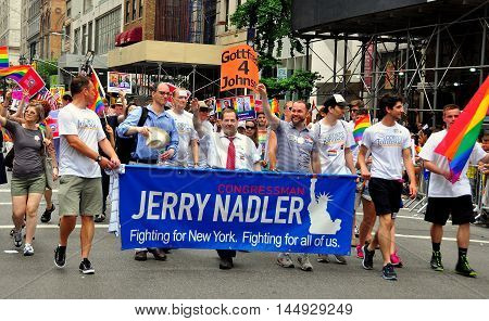 New York City - June 29 2013: United States Congressman Jerry Nadler marching with supporters at the 2013 Gay Pride Parade on Fifth Avenue