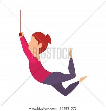 woman juggler acrobatics show cartoon exercises vector illustration