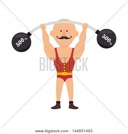 strong man circus cartoon acrobat show mustache vector illustration