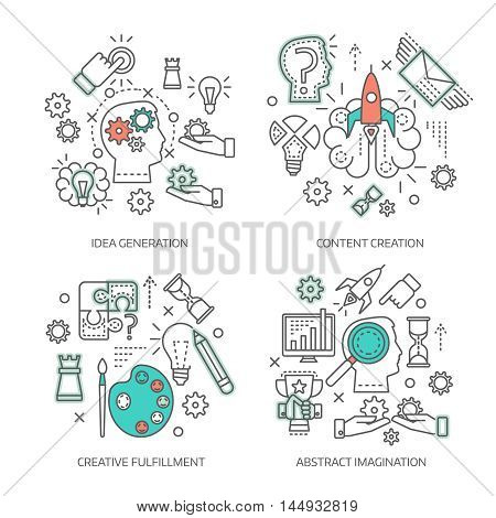 Creative concept linear compositions with idea generation content development abstract imagination and inventive fulfillment isolated vector illustration