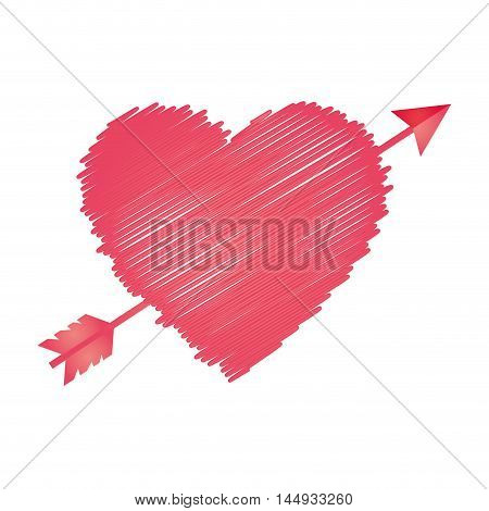 pink heart arrow love passion romance sketch vector illustration