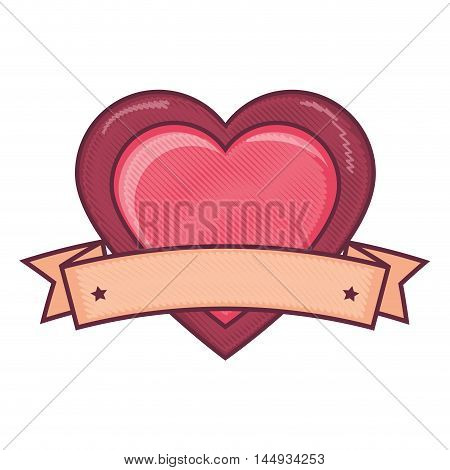 pink heart love passion label romance passion vector illustration