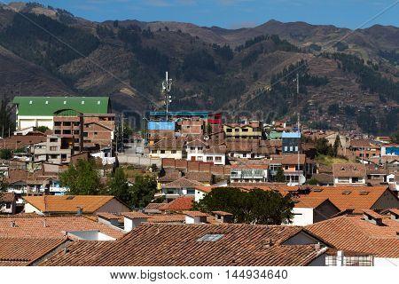 Cuzco Peru Viewedd From An Elevated Vantage Point
