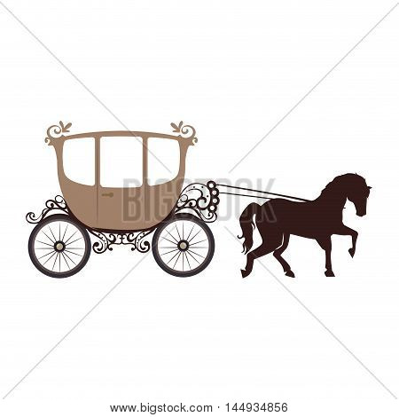 horse carriage old vehicle vintage transport cartoon vector illustration