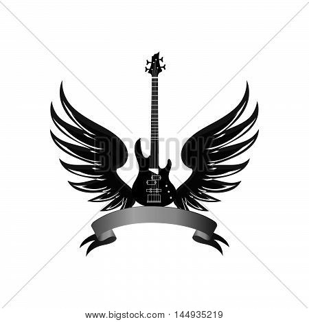 musical illustration with silhouettes of guitar wings. Rock music symbol. Electric guitar with wings and bow ribbon for text.