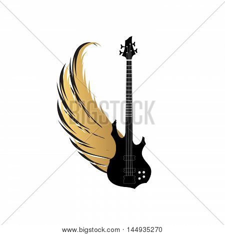 Musical fest sing with winged guitar . Rock music symbol. Electric guitar with wings and bow ribbon for text. Muical instrument background