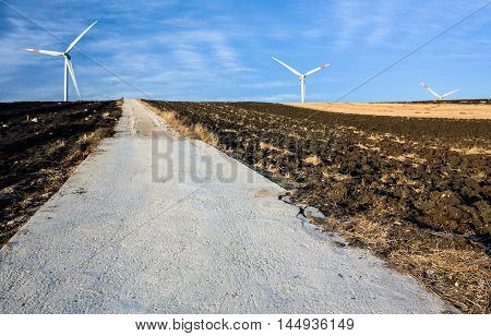 windmills and turbines for wind energy and clean energy