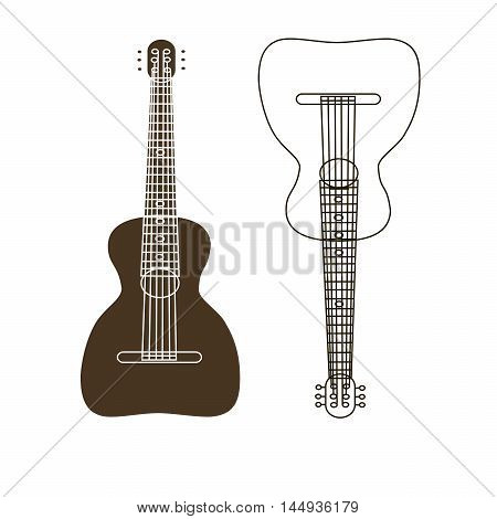 Russian folk stringed musical instrument guitar.Wooden soundboard,strings for sound,oval,round shape for music.Brown,yellow.Used by musicians, bands,performers,solo.The symbol of the Slavic people.