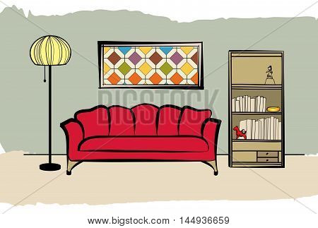 Interior furniture with sofa floor lamp book shelf  and picture on the wall. Living room and drawing design.
