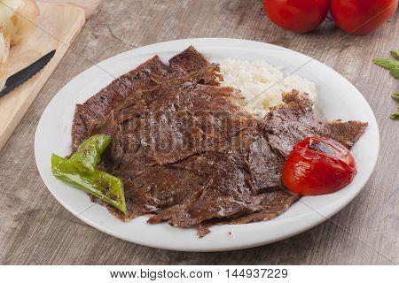 Turkish Doner Kebap meat grill yaprak döner pilav üstü döner