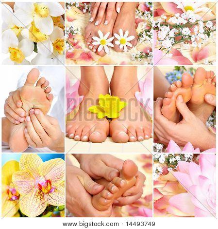 Female feet massage and flowers. Spa