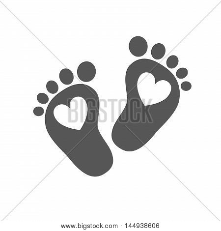Simple baby footprints - vector illustration. Black footprints of baby with image of the heart inside on white background.