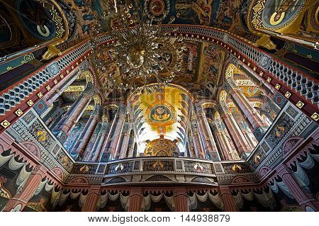 ARAD ROMANIA - AUGUST 26 2016: Inside in the orthodox Holy Trinity cathedral from city Arad Romania.