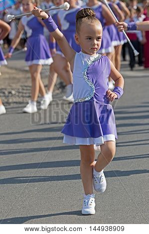 "GOTTLOB ROMANIA - AUGUST 14 2016: Parade of small cheerleaders with occasion Festival of watermelon "" organized by the City Hall Gottlob district Timis."