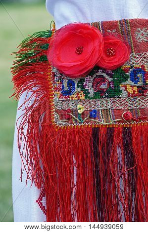Old traditional Romanian folk costume for women.Detail.