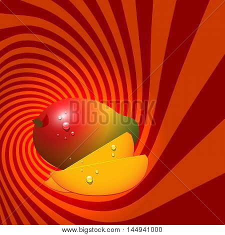 Striped spiral mango confectioners background. Mango fruit with water drops. Mango spiral tunnel. Fruit spiral for cover design of food with mango flavour. Vector Illustration.